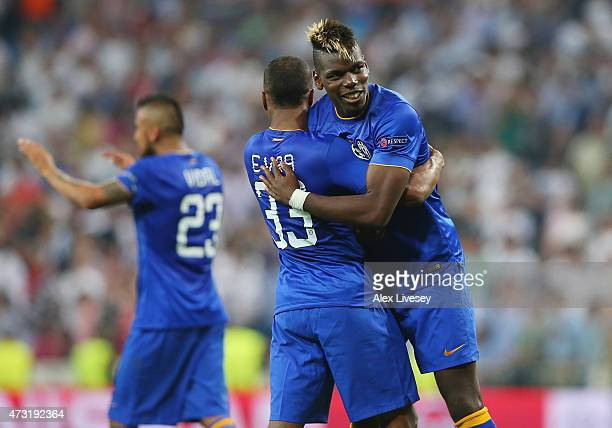 Arturo Vidal of Juventus and Paul Pogba of Juventus celerate following their team's progression to the final during the UEFA Champions League Semi...