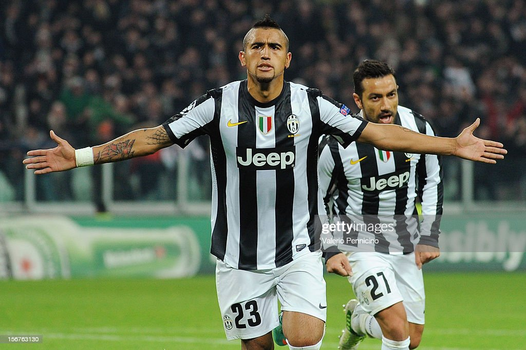 Arturo Vidal of Juventus celebrates a goal during the UEFA Champions League Group E match between Juventus and Chelsea FC at Juventus Arena on November 20, 2012 in Turin, Italy.