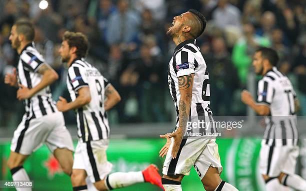 Arturo Vidal of Juventus FC celebrates after scoring the opening goal during the UEFA Champions League Quarter Final First Leg match between Juventus...