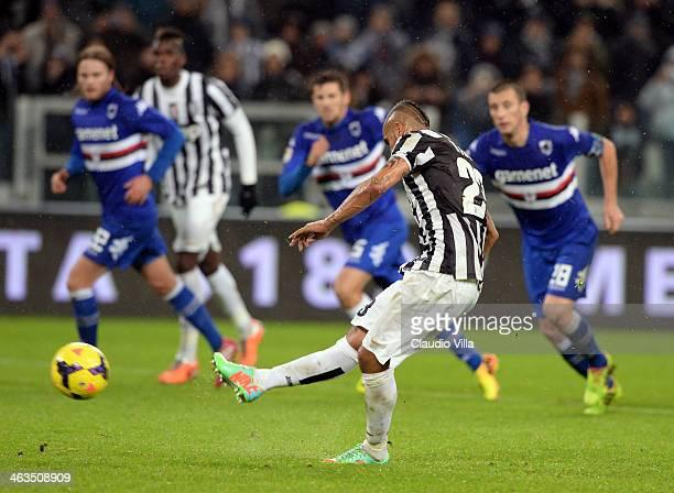Arturo Vidal of Juventus scores the third goal during the Serie A match between Juventus and UC Sampdoria at Juventus Arena on January 18 2014 in...