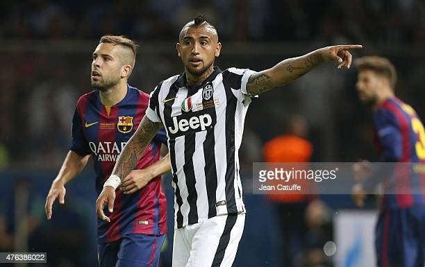 Arturo Vidal of Juventus Turin reacts during the UEFA Champions League Final between Juventus Turin and FC Barcelona at Olympiastadion on June 6 2015...