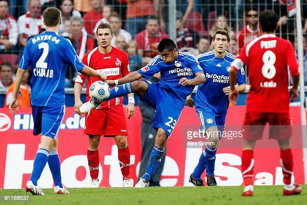 Arturo Vidal of Leverkusen shoots the ball during the Bundesliga match between 1 FC Koeln and Bayer Leverkusen at the Rhein Energie stadium on...