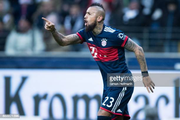 Arturo Vidal of Muenchen celebrates after scoring his team's first goal during the Bundesliga match between Eintracht Frankfurt and FC Bayern...