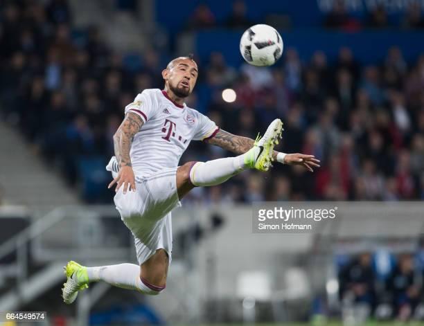 Arturo Vidal of Muenchen controls the ball during the Bundesliga match between TSG 1899 Hoffenheim and Bayern Muenchen at Wirsol RheinNeckarArena on...