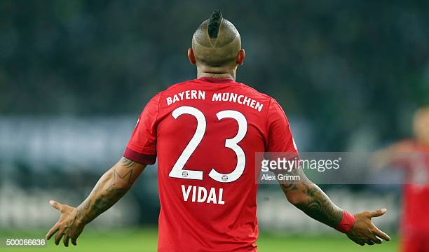 Arturo Vidal of Muenchen reacts during the Bundesliga match between Borussia Moenchengladbach and FC Bayern Muenchen at BorussiaPark on December 5...