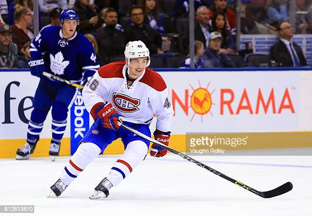 Arturri Lehkonen of the Montreal Canadiens skates during an NHL preseason game against the Toronto Maple Leafs at Air Canada Centre on October 2 2016...