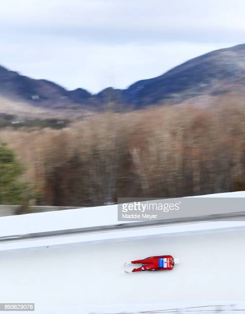 Arturs Darznieks of Latvia competes in his first run of the Men's competition during the Viessmann FIL Luge World Cup at Lake Placid Olympic Center...
