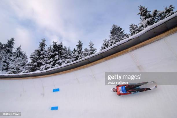 Arturs Darznieks of Latvia in action during the men's singles race at the Luge World Cup in Oberhof Germany 16 January 2016 PhotoCANDYWELZ/dpa |...