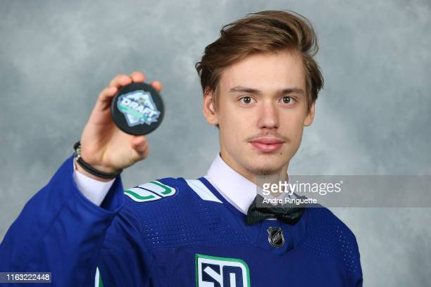 Arturs Silovs 156th pick overall of the Vancouver Canucks poses for a portrait during Rounds 27 of the 2019 NHL Draft at Rogers Arena on June 22 2019...