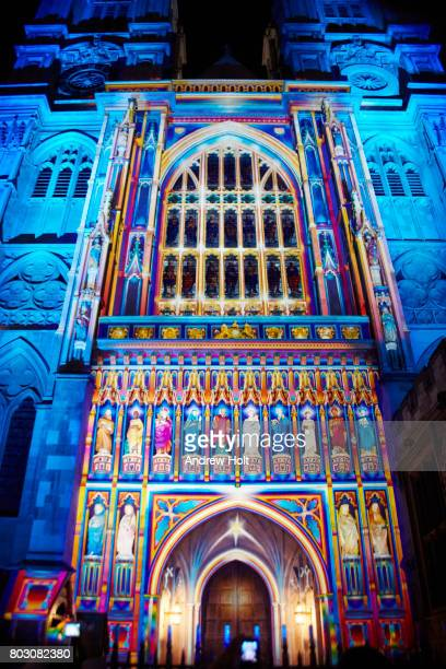 artwork at lumiere london light festival  2016 - westminster abbey stock pictures, royalty-free photos & images