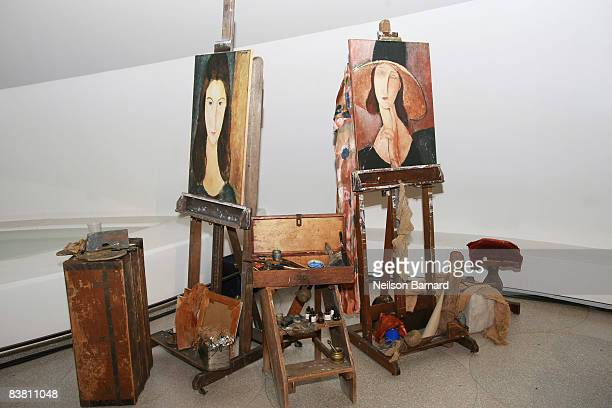 Artwork by Amedeo Modigliani is on display at Montegrappa's tribute to Amedeo Modigliani at the Solomon R. Guggenheim Museum on November 24, 2008 in...