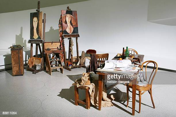 Artwork by Amedeo Modigliani is on display at Montegrappa's tribute to Amedeo Modigliani at the Solomon R Guggenheim Museum on November 24 2008 in...