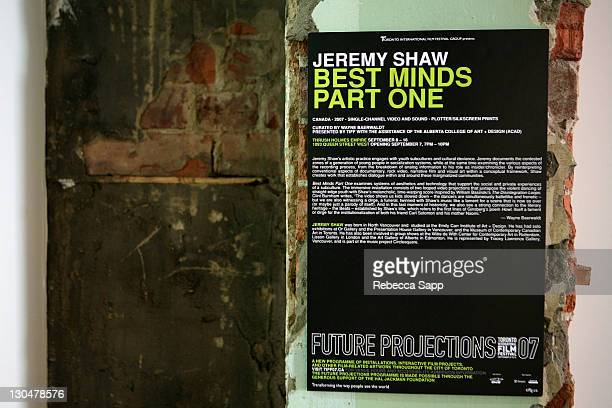 Artwork by Jeremy Shaw at the Festival Installation Best Minds Part One at The 32nd Annual Toronto International Film Festival in Toronto Canada on...