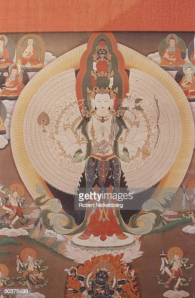 Artwork depicting Tibetan Buddhist God of Compassion Avalokiteshvara emanation of which is supposed to be Dalai Lama