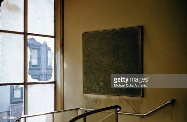 Artwork is damaged on the walls after a fire broke out on the second floor of the Museum of Modern Art in New York, NY.