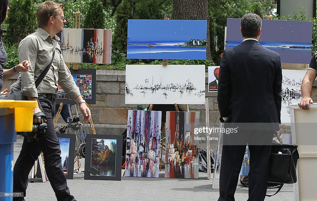 Artwork is displayed and on sale in Union Square May 17, 2010 in New York City. Mayor Michael Bloomberg's administration wants to cut the number of art vendors in Union Square Park, Battery Park, High Line Park and certain areas of Central Park by 75 percent. Vendors currently are not required to have permits to sell 'expressive art' and fear they will lose the opportunity to sell their work in the popular outdoor galleries.