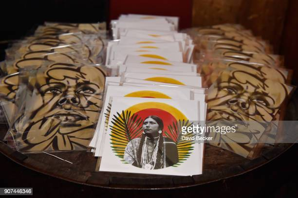 Artwork is displayed at Steelhouse and Eternal Front presents Beyond the Front Lines during the 2018 Sundance Film Festival on January 19 2018 in...