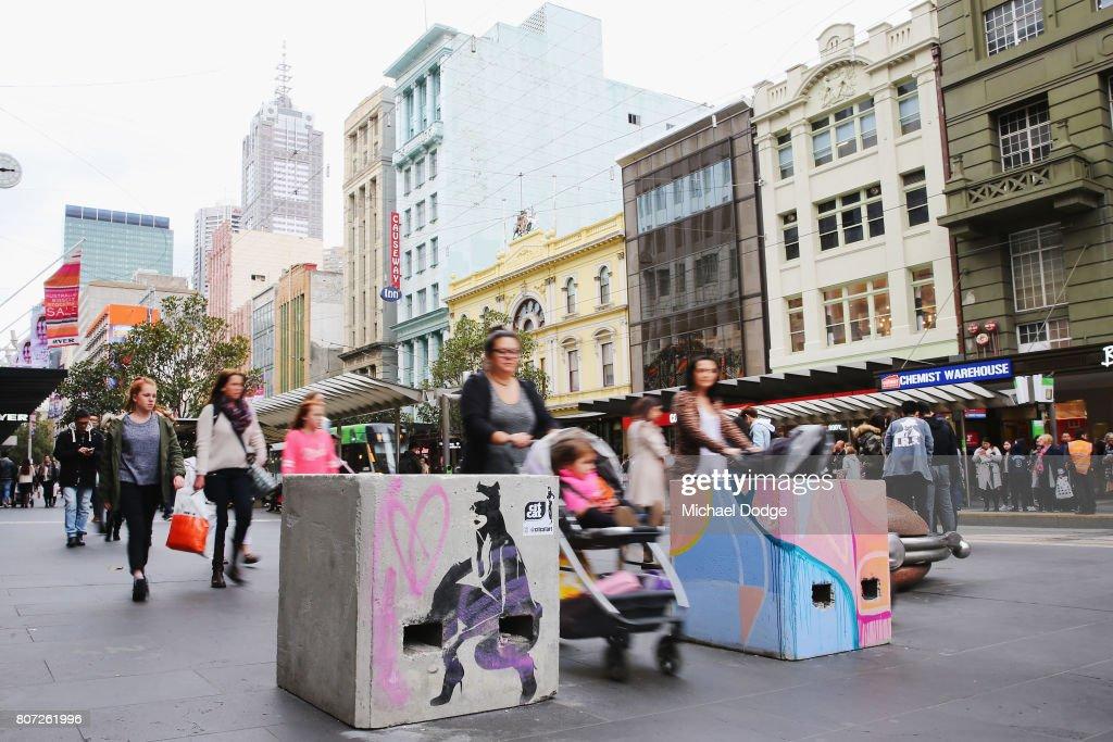 Melburnians Decorate Newly Installed Anti-Terror Bollards : News Photo