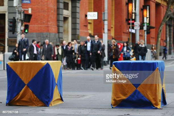 Artwork is seen on many concrete blocks acting as bollards on July 4 2017 in Melbourne Australia The large concrete blocks were installed across the...