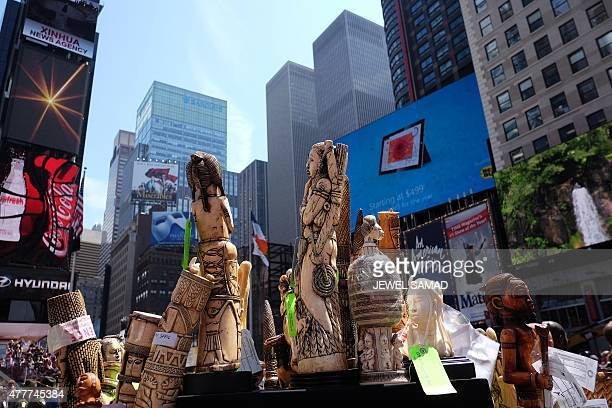 Artwork made out of ivory are seen during a ceremony at the Times Square in New York on June 19 2015 The US Fish and Wildlife Service destroyed more...