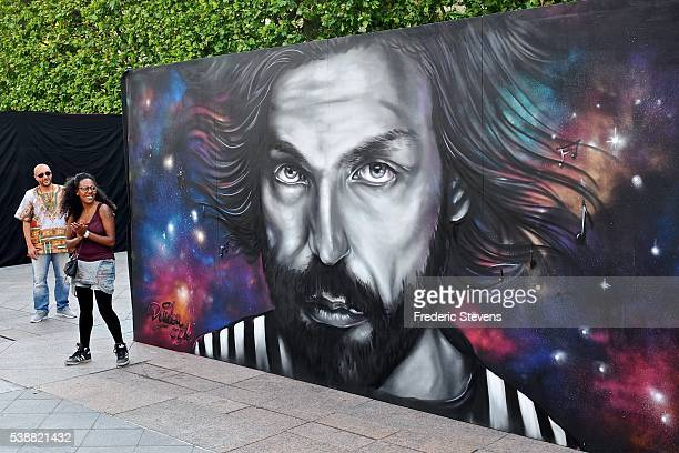 Artwork of footballer Andrea Pirlo of Italiy painted by artist Doudou Style from Paris is seen on June 7 2016 in Paris France Eleven legendary...
