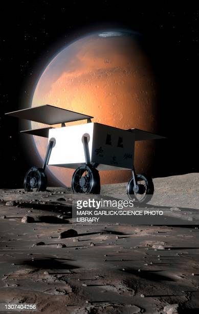 artwork of mmx probe on phobos - space mission stock pictures, royalty-free photos & images