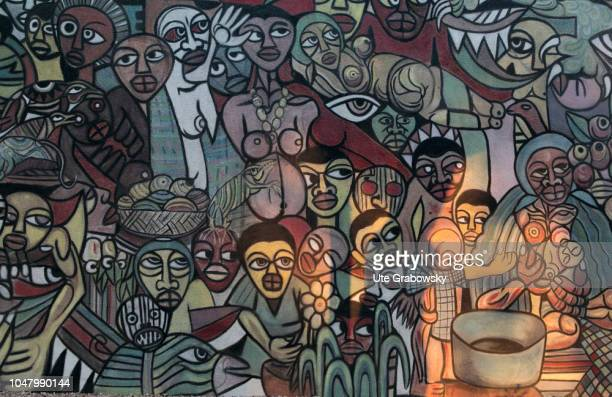 Artwork on a wall of a house on the terrain of the Geographical Museum in Maputo on August 25 2018 in Maputo Mozambique