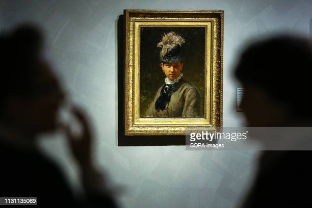 Artwork Portrait of Vera Repina the Artist's Wife by Ilya Repin seen during the exhibition Media preview of the exhibition Ilya Repin was held at the...