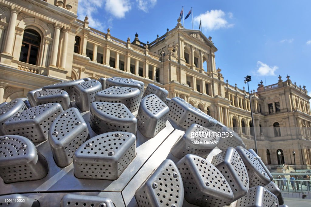 Artwork Steam Spheres outside Treasury Casino and Hotel Brisbane Queensland Australia : Stock Photo