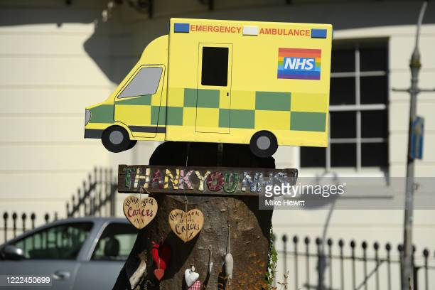 Artwork thanking the NHS sits on a tree stump in a Brighton square on May 02, 2020 in Brighton, England. British Prime Minister Boris Johnson, who...