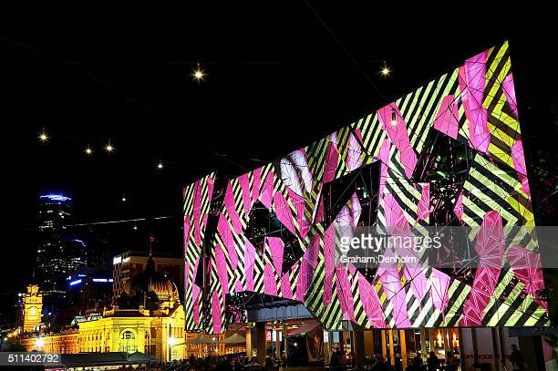 Artwork titled FEDERATION©÷ by Reko Rennie is projected onto the facade of Federation Square as part of White Night Melbourne on February 20 2016 in...