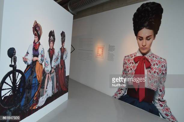 Artworks are seen on the closing day of the Ornamental DNA Exhibition in Ankara, Turkey on October 15, 2017. The exhibition presents a figurative and...