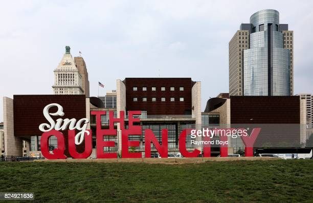 ArtWorks' 'Sing The Queen City' 3D art sculpture sits on the Freedom Center lawn in Cincinnati Ohio on July 20 2017 MANDATORY MENTION OF THE ARTIST...