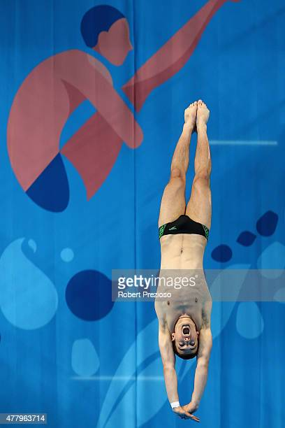 Artyom Danilov of Azerbaijan competes in the Diving Men's Platform Preliminary during day nine of the Baku 2015 European Games at the Baku Aquatics...