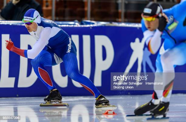 Artyom Kuznetsov of Russia competes in the Men's 500m 2nd race during the ISU World Cup Speed Skating Final Day 2 at Speed Skating Arena on March 18,...