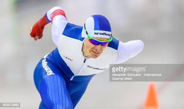 Artyom Kuznetsov of Russia performs in the Mens 500m during the ISU World Cup Speed Skating Final at Speed Skating Arena on March 17, 2018 in Minsk,...