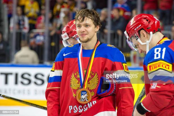 Artyom Zub with bronze medal after the Ice Hockey World Championship Bronze medal game between Russia and Finland at Lanxess Arena in Cologne Germany...