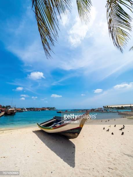 Aruba, Oranjestad, boat on the beach