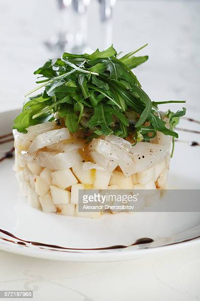 Arugula salad with pear and scallop