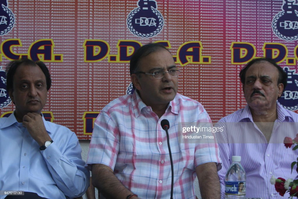 Arun Jaitely addresing media persons during a function at Ferozshah Kotla cricket ground, in New Delhi .