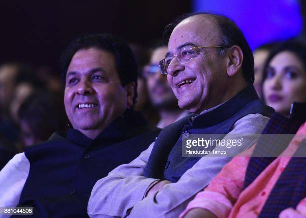 Arun Jaitley Finance Minister along with Rajeev Shukla a former vicepresident of the BCCI during an award function night organised by Bag Films...