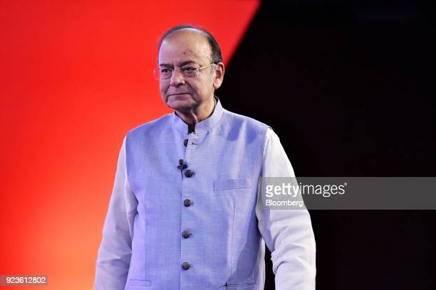 Arun Jaitley India's finance minister arrives on stage during the ET Global Business Summit in New Delhi India on Saturday Feb 24 2018 The summit...