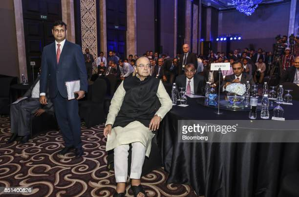 Arun Jaitley India's finance minister center sits in the audience during the Bloomberg India Economic Forum in Mumbai India on Friday Sept 22 2017...