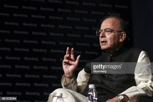 Arun Jaitley India's finance minister gestures as he speaks during a panel discussion at the Bloomberg India Economic Forum in Mumbai India on Friday...