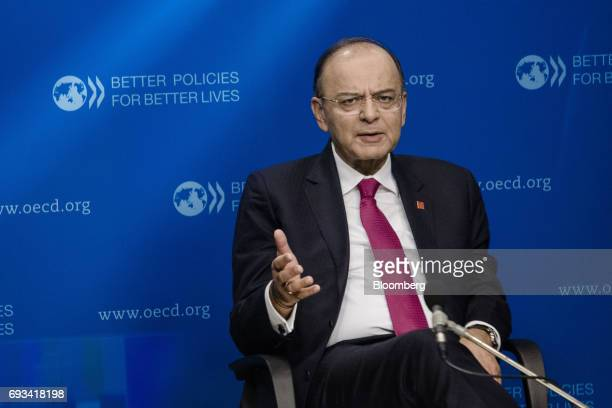 Arun Jaitley India's finance minister gestures while speaking during a Bloomberg Television interview at the Organisation for Economic Cooperation...