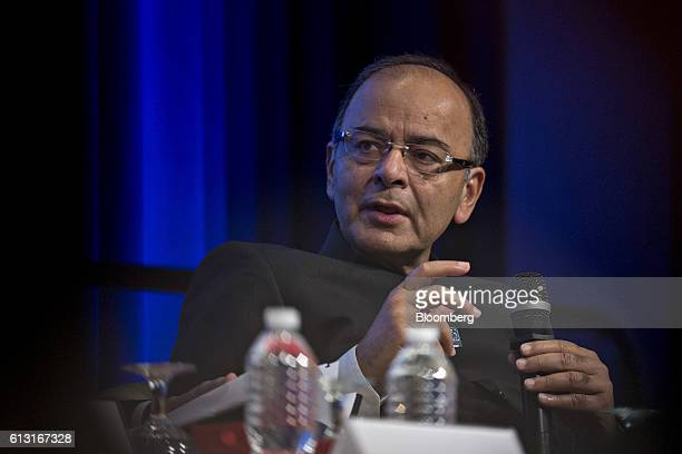Arun Jaitley India's finance minister speaks during a panel discussion at the International Monetary Fund and World Bank Group Annual Meetings in...