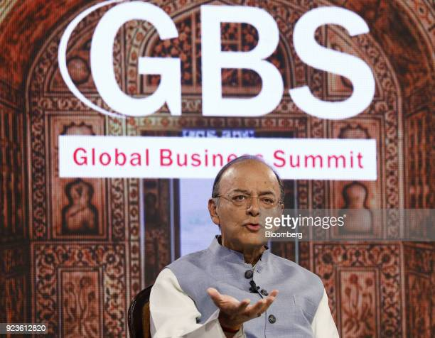Arun Jaitley India's finance minister speaks during the ET Global Business Summit in New Delhi India on Saturday Feb 24 2018 The summit runs through...