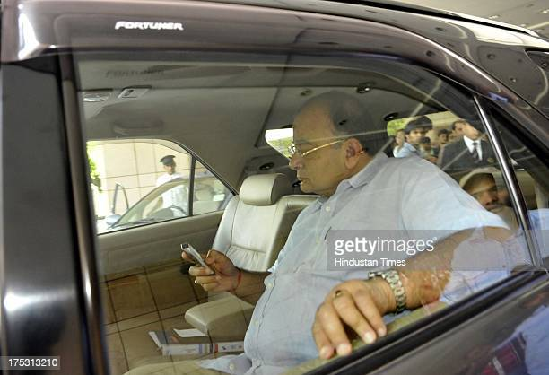 Arun Jaitley member of the Bharatiya Janata Party leaves after the BCCI working committee meeting at Hotel Maurya on August 2 2013 in New Delhi India...