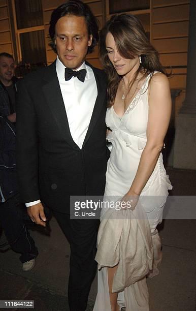 Arun Nayar and Elizabeth Hurley during Salvatore Ferragamo at the Italian Embassy Departures at Italian Embassy in London Great Britain