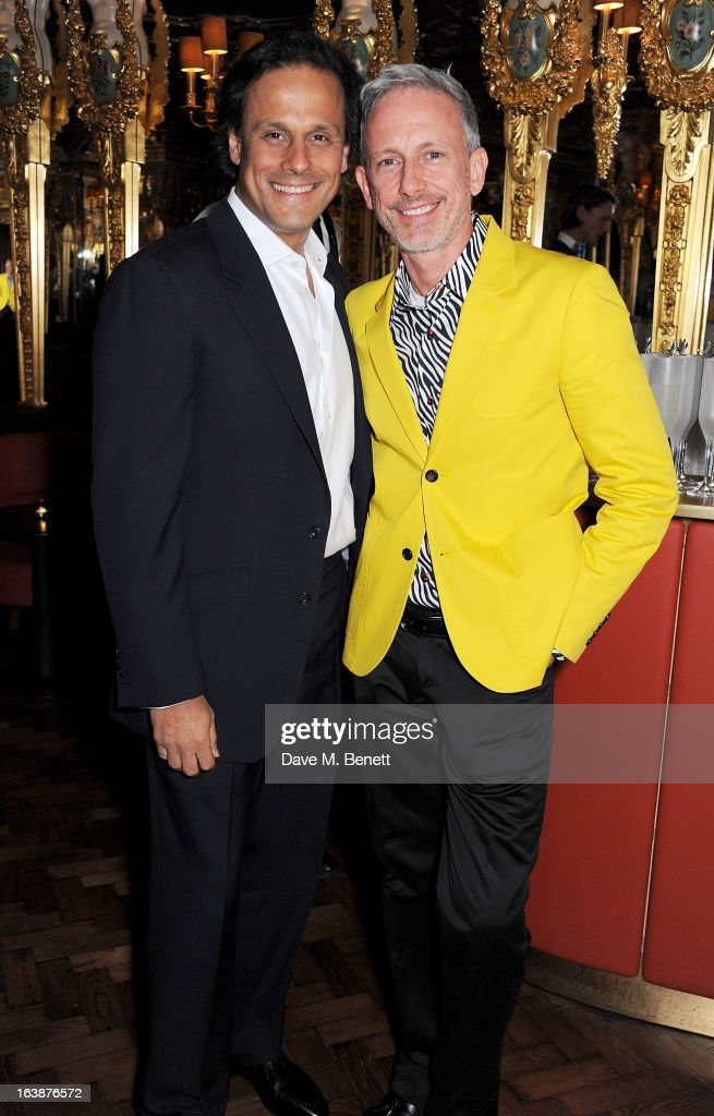 Arun Nayar (L) and Patrick Cox attend a drinks reception celebrating Patrick Cox's 50th Birthday party at Cafe Royal on March 15, 2013 in London, England.